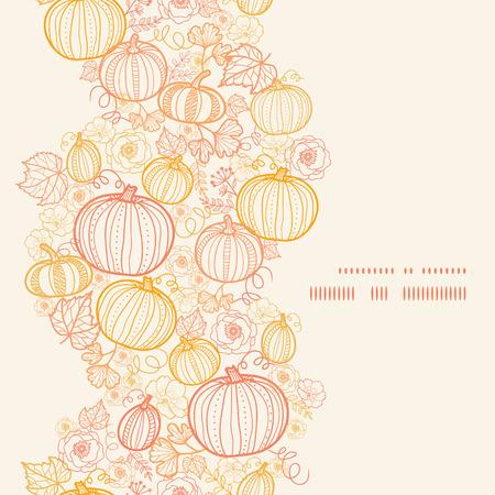 dynia: Wektor sztuki Pumkins dziękczynienia pionowa linia ramki bezszwowe tło wzór Ilustracja