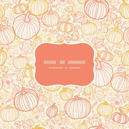 Vector thanksgiving line art pumkins frame seamless pattern background Ilustração