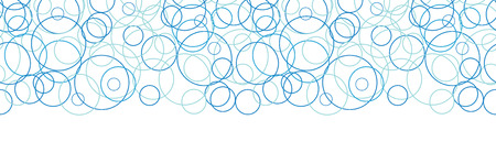 water bubble: Vector abstract blue circles horizontal border seamless pattern background Illustration