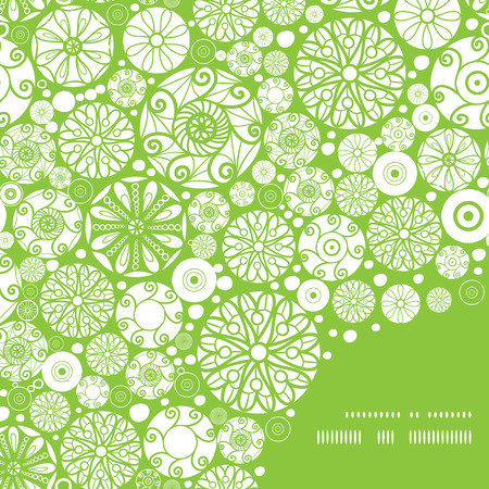 asymmetric: Vector abstract green and white circles frame corner pattern background