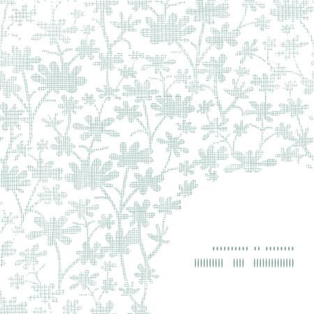 bush mesh: Vector abstract gray bush leaves textile frame corner pattern background