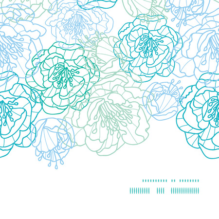Vector blue line art flowers horizontal frame seamless pattern background Vector