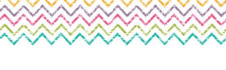 Colorful grunge chevron horizontal border seamless pattern background Vector