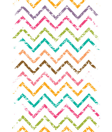 Colorful grunge chevron vertical border seamless pattern background Vector