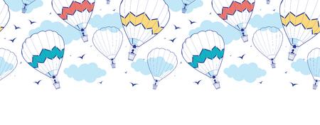colorful ot air balloons horizontal border seamless pattern background Vector