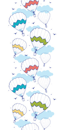 colorful ot air balloons vertical border seamless pattern background Vector