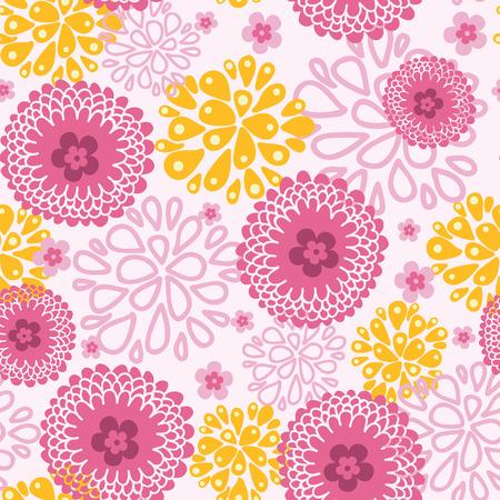 field of flowers: Pink field flowers seamless pattern background