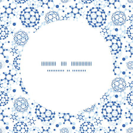 Vector blue molecules texture circle frame seamless pattern background Vector