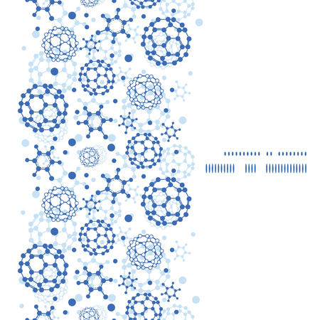 Vector blue molecules texture vertical frame seamless pattern background Vector