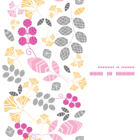 Vector abstract pink, yellow and gray leaves vertical frame seamless pattern background Illustration