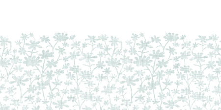 bush mesh: Vector abstract gray bush leaves textile horizontal border seamless pattern background