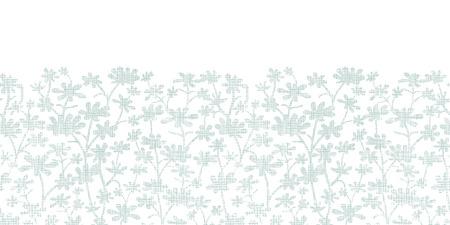 bush mesh: Vector abstract gray bush leaves textile horizontal border seamless pattern background