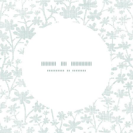 bush mesh: Vector abstract gray bush leaves textile circle frame seamless pattern background