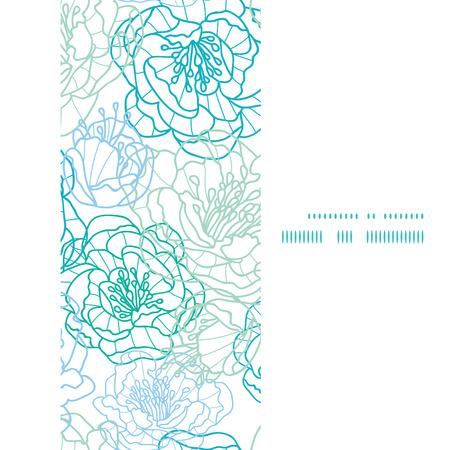 Vector blue line art flowers vertical frame seamless pattern background