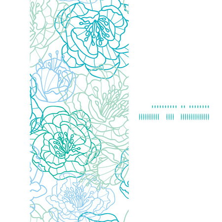 Vector blue line art flowers vertical frame seamless pattern background