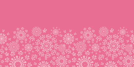 Folk pink floral circles texture abstract horizontal seamless pattern background Vector