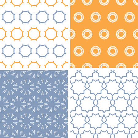 Four abstract arrows and circles motives seamless patterns set Vector
