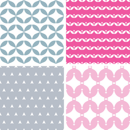 Four wavy pink and gray abstract geometric patterns backgrounds Vector