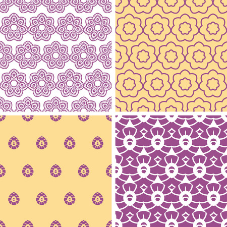 textile image: Four abstract purple and gold oriental motives seamless patterns set