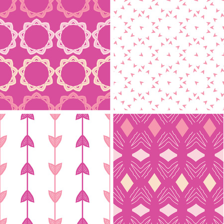 Four abstract geometric pink seamless patterns set Vector