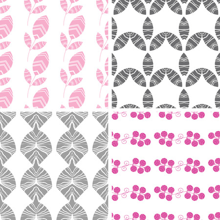 Four abstract pink gray textured leaves seamless pattern background set Vector