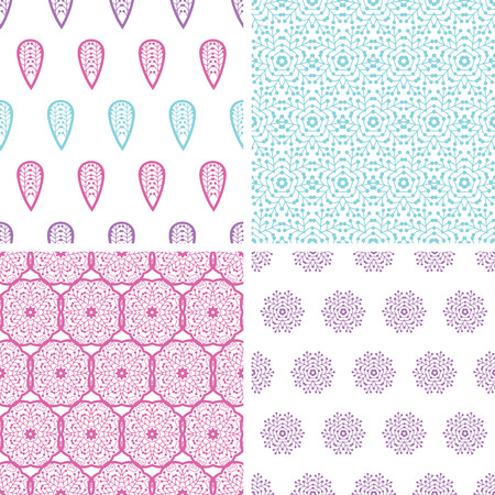 Four abstract feather motives seamless patterns set Vector