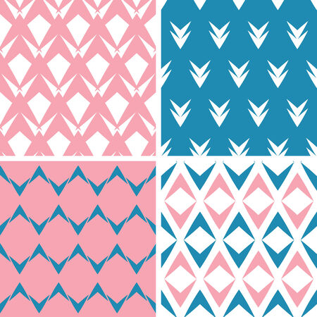 Four abstract pink blue arrows geometric seamless patterns set Vector