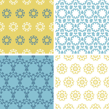 Four abstract yellow blue florals seamless pattern background set Vector