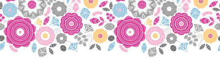 Vibrant floral scaterred horizontal seamless pattern background Vector