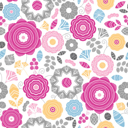 Vibrant floral scaterred seamless pattern background Ilustração