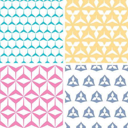 Four abstract geraldic geometric pink seamless patterns set Vector