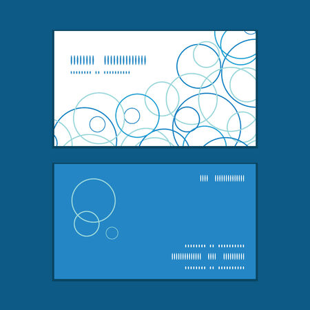 business cards: Vector abstract blue circles horizontal corner frame pattern business cards set