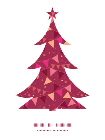 decorations flags Christmas tree silhouette pattern frame card template