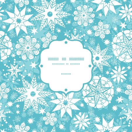 decorative frost Christmas snowflake silhouette pattern frame card template Vector