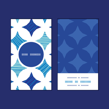 Vector blue marble tiles vertical round frame pattern business cards set 일러스트