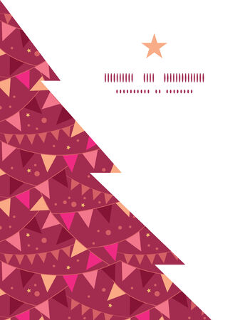 Vector decorations flags Christmas tree silhouette pattern frame card template