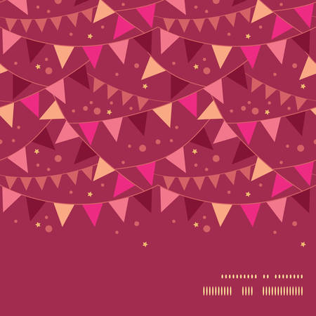 Vector christmas decorations flags horizontal frame seamless pattern background Illustration