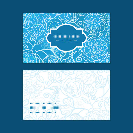Vector blue field floral texture horizontal frame pattern business cards set