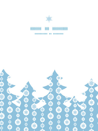 Vector blue and white snowflakes stripes Christmas tree silhouette pattern frame card template Vector