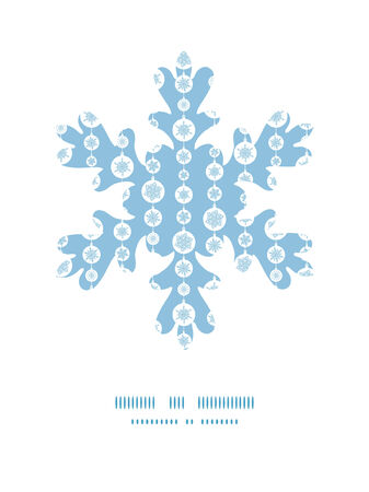 Vector blue and white snowflakes stripes Christmas snowflake silhouette pattern frame card template Vector