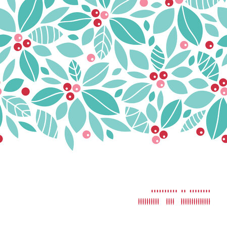 blue christmas background: Vector christmas holly berries horizontal frame seamless pattern background