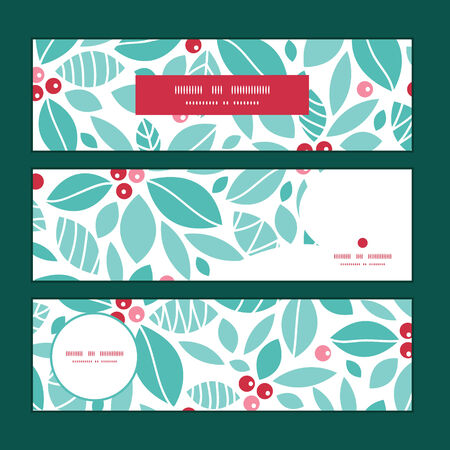 horizontal: Vector christmas holly berries horizontal banners set pattern background Illustration