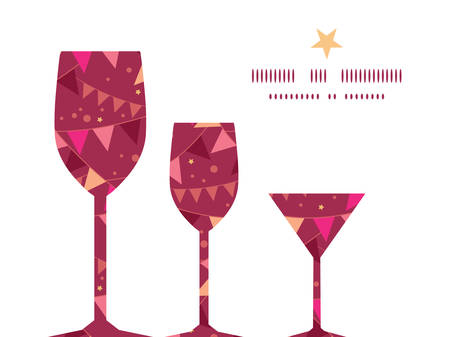 Vector christmas decorations flags three wine glasses silhouettes pattern frame Vector