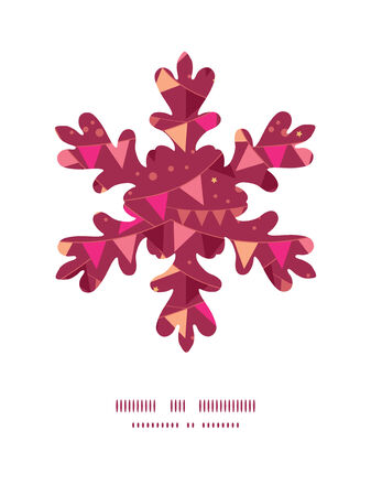 Vector decorations flags Christmas snowflake silhouette pattern frame card template Illustration