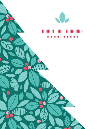 blue christmas background: Vector christmas holly berries Christmas tree silhouette pattern frame card template
