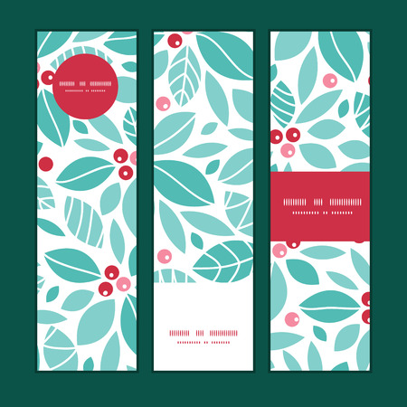 Vector christmas holly berries vertical banners set pattern background Çizim