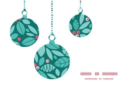 Vector christmas holly berries Christmas ornaments silhouettes pattern frame card template Illustration