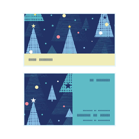 Vector abstract holiday christmas trees horizontal stripe frame pattern business cards set