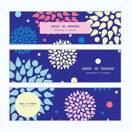 Vector colorful bursts horizontal banners set pattern background Vector
