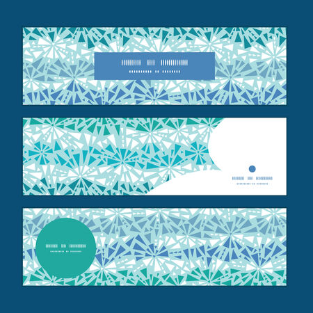 chrystals: Vector abstract ice chrystals texture horizontal banners set pattern background